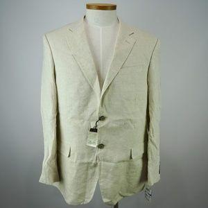 Tasso Elba Men's White Linen TwoButton Suit XL NWT